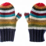 Pair of varicolored striped mittens isolate on white.